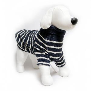 犬 服 ジャガードオフタートル ネイビー Mサイズ 暖かい ボーダー ニット シンプル No.3001|arumik-one