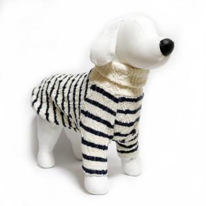 犬 服 ジャガードオフタートル ホワイト Lサイズ 暖かい ボーダー ニット シンプル No.3001|arumik-one