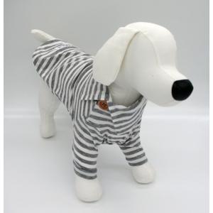 犬 服 マリンボーダーTee グレー Lサイズ おしゃれ 飾りボタン シンプル スタンダード No.3033 arumik-one