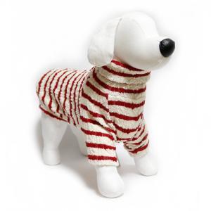 犬 服 ジャガードオフタートル ホワイト×レッド M-longサイズ 暖かい ボーダー ニット シンプル No.37001|arumik-one