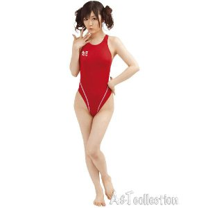 コスプレ コスチューム 薄々競泳水着(ホットレッド) XLサイズ スクール水着 女装男子|arune