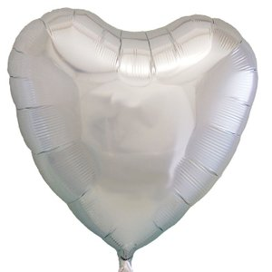 ギフトヘリウムガス入り メタリックシルバーハート ハート型バルーン・風船 結婚式・お誕生日パーティーも最適|arune