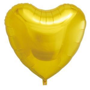 ギフトヘリウムガス入り メタリックゴールドハート ハート型バルーン・風船 結婚式・お誕生日パーティーも最適|arune