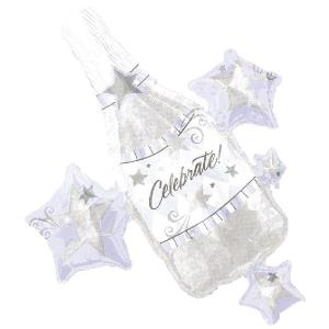 ヘリウムガス入り セレブレーションクラスター シャンパン型バルーン・風船|arune