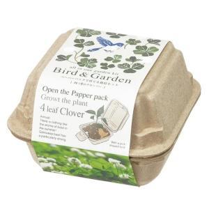 バード&ガーデン 四つ葉のクローバー栽培セット 再生紙紙パックで育てるハーブ栽培キット 観葉植物 ガーデニング 聖新陶芸 ギフト プレゼント|arune