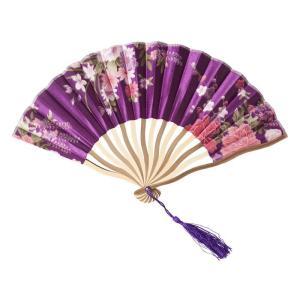 花鳥風月 扇子 紫 コスプレ 和柄 和風 プチプラ レディース コスチューム 仮装 変身|arune