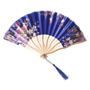 花鳥風月 扇子 青 コスプレ 和柄 和風 プチプラ レディース コスチューム 仮装 変身|arune