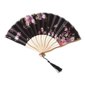 花鳥風月 扇子 黒 コスプレ 和柄 和風 プチプラ レディース コスチューム 仮装 変身|arune