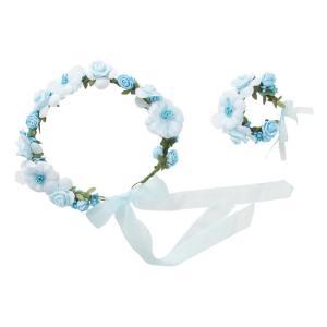 花かんむり&バングルセット ライトブルー 仮装 変装  コスプレ 仮装 変装  ヘッドアクセサリー arune
