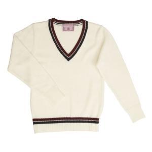 TE-18SS Vネックセーター ライン ホワイト L TeensEver JK 女子高生 高校 中学 制服 ファッション arune