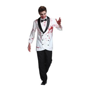 スプラッターグルーム 血のり付きタキシード 男性 メンズ コスチューム 仮装 ハロウィン 衣装 コスプレ|arune