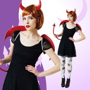デビルパーツセット レッド 子供も着用可能 ヘアアクセサリー ヘッドピース 髪飾り 悪魔 衣装 コスチューム 仮装 ハロウィン コスプレ|arune