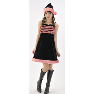 サンタコスプレ・サンタ衣装・サンタコスチューム キャンディーボレロサンタ(ブラック&ピンク) レディース|arune