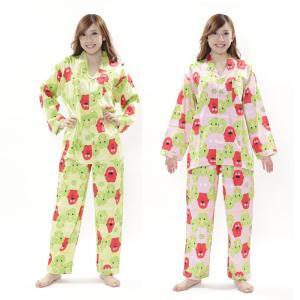 SAZAC ガチャピン・ムック キャラクター ルームウェア 部屋着 ボーダーガチャパンムックシャツパジャマ arune