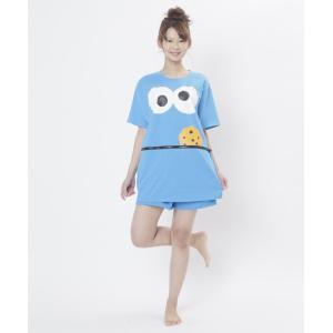 クッキーモンスターコスチュームスリーパー SAZAC キャラクター クッキーモンスター セサミストリート Tシャツ 部屋着 ルームウェア|arune