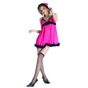 ギフト即納 ベビードール ピンク×ブラックサンタ レディース サンタクロース衣装 サンタコスプレ クリスマスコスチューム|arune