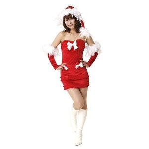 即納 クリスマス コスプレ サンタ レディース フェザービスチェドレス クリスマス コスプレ レディース おもしろ 安い トナカイ ツリー サンタクロース|arune