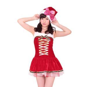 ゴールドリボンラッピングサンタ クリスマス サンタクロース 衣装 コスチューム Xmas コスプレ プチプラ|arune