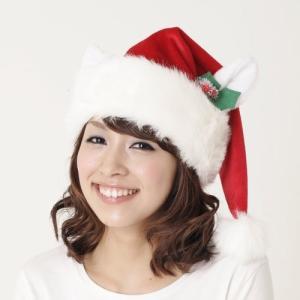 即納 クリスマス コスプレ サンタ 帽子 アニマル 大人用 ホワイトキャットサンタ帽 クリスマス コスプレ サンタ 帽子 猫耳 おもしろ 安い サンタクロース|arune