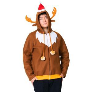 即納 クリスマス おもしろ コスプレ 仮装 変装グッズ トナカイパーカー クリスマス おもしろ コスプレ 仮装 変装グッズ 安い 笑える 爆笑 衣装|arune