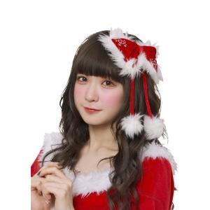 クリスマス仮装グッズ ヘアアクセサリー クリスタルリボンピンレッド|arune