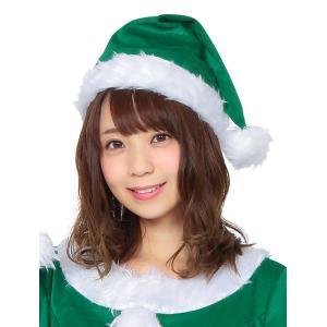 サンタ帽子 グリーン サンタクロース Xmas クリスマス 衣装 コスチューム|arune