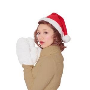 もこもこサンタ帽&手袋セット クリスマス サンタ サンタクロース コスプレ 衣装 コスチューム|arune