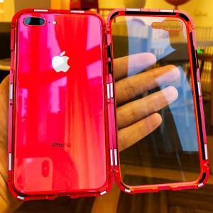 9H強化ガラス付き 万磁王 iPhone7 アルミバンパー iPhone8 ケース iPhone7plus/8plus 背面透明ガラスプレート マグネット式自動吸着 メタルフレームカバー|arunmui