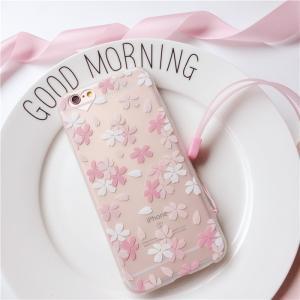 花柄 iPhone8 iphone7 iphone7plus ケース ストラップ付き iphone6/6S/ plus TPU可愛いケース ピンク系 ソフトカバー アイフォンケース おしゃれ かわいい 人気|arunmui