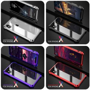 全面TPEガラスフィルム付き アメリカソージャー iphoneX ケース アルミバンパー 透明背面プレート iphone X ケース 合金フレーム アイフォンXカバー|arunmui
