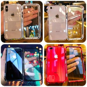 全面保護ガラスフィルム付き 万磁王 iphone X アルミバンパー iPhone7/8/plus ケース 背面透明ガラスプレート マグネット式自動吸着 メタルフレームカバー|arunmui
