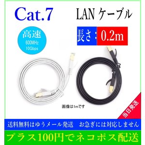 LANケーブル CAT7 0.2m  フラット 10ギガ対応 シールドケーブル 薄型 20cm 金メッキ コネクタ ツメ折れ防止|arusena39