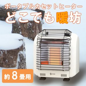 ニチガス ポータブルカセットヒーター NCH-22SW ホワイト どこでも暖坊 約8畳用 屋内仕様 送料無料の画像