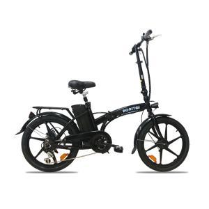★新商品★36V大容量リチウム電池搭載★折りたたみモペット電動自転車BONITA-20インチ★布カゴ付き|aruzan