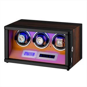HOKUTO ワインディングマシーン 腕時計自動巻き器 ウォッチワインダー 3本巻き上げLEDライト...