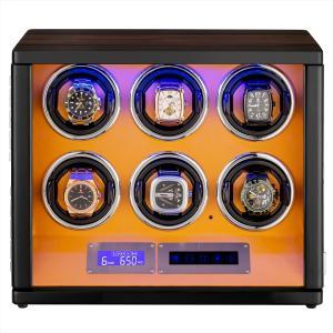 HOKUTO ワインディングマシーン 腕時計自動巻き器 ウォッチワインダー 6本巻き上げLEDライト...