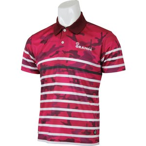 GRANDE(グランデ) GFPH16003 3501 フットサル BORDER CAMO DRY MESH POLO RED/WHT 16SS|as-y