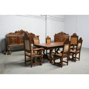 品番1391現地在庫販売スペイン原産アンティーク家具ウォールナット製ダイニングルーム9点セット1940年|as296
