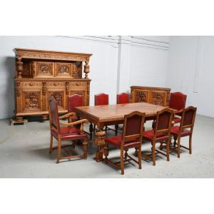 品番1424現地在庫販売ベルギー原産アンティーク家具オーク製ダイニングルーム11点セット1920年|as296