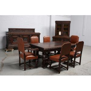 品番1695ヨーロッパ市場在庫品アンティーク家具ダイニング9点セット現地在庫商品1920年代ベルギー原産オーク製|as296