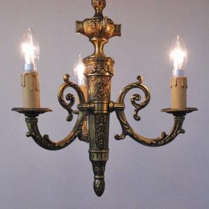 #8665吊り下げ照明本物アンティーク照明ブラス製 シャンデリア3灯 1930年代 イタリア原産 PSE表示品 PL保険付 as296