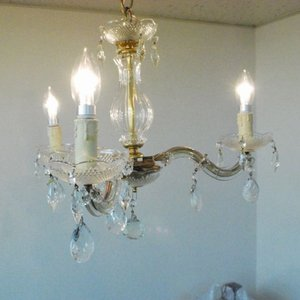 #AC吊り下げ照明本物アンティーク照明ガラス製 シャンデリア3灯 1940年代 ベルギー原産 PSE表示品 PL保険付 as296