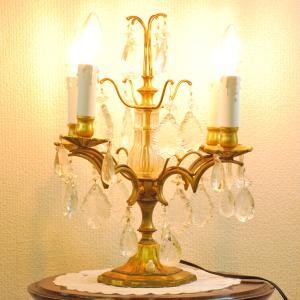#201308スタンド照明本物アンティーク照明1940年フランス原産テーブルランプ4灯真鍮/ガラス製PSE表示品PL保険付 as296