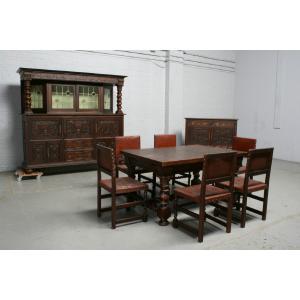 品番2026ヨーロッパ市場在庫品アンティーク家具ダイニング9点セット現地在庫商品1920年代ベルギー原産オーク製|as296