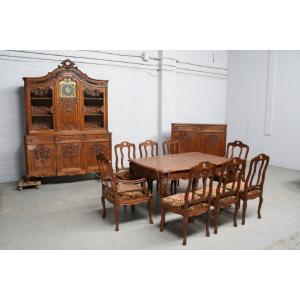 品番2327ヨーロッパ市場在庫品アンティーク家具ダイニング11点セット現地在庫商品1900年代ベルギー原産オーク製|as296