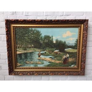 #291 タペストリー アンティーク雑貨 風景画 絵画 ビンテージ 欧州アンティーク市場 直輸入|as296