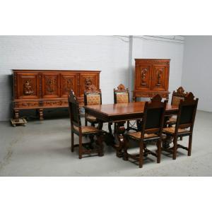 品番3831現地在庫販売フランス原産アンティーク家具ウォールナット製ダイニングルーム9点セット1940年|as296
