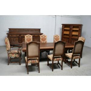 品番5407現地在庫販売ベルギー原産アンティーク家具オーク製ダイニングルーム11点セット1920年|as296
