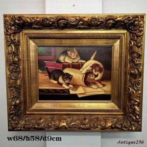 #5685 アンティーク雑貨 猫 ネコ 絵画 ビンテージ 欧州アンティーク市場 直輸入|as296