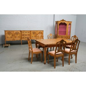 品番6438ヨーロッパ市場在庫品アンティーク家具ダイニング9点セット現地在庫商品1920年代ベルギー原産オーク製|as296